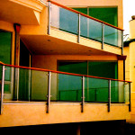 Glass Balcony Guardrail Wood Cap